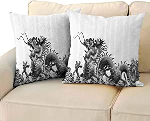 Body Pillowcase Dragon Decor Collection Traditional Chinese Dragon Symbolize Strength and Good Luck Powers Fantasy Graphic Work Without core (2 PCS, 22x22 Inch) Black White
