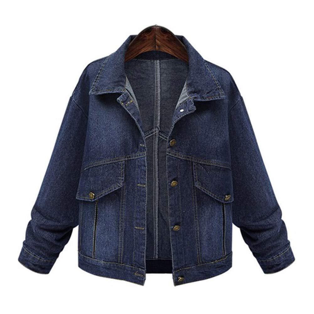 Plus Size Women Denim Jacket Outwear Long Sleeve Tops Jean Coat Overwear With Pockets (2XL, Blue)
