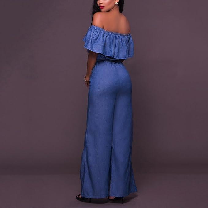fbc8de9312fb Amazon.com  YYF Women s Denim Wrap Chest Ruffles Bodycon Lace-up Jumpsuit  Romper  Clothing