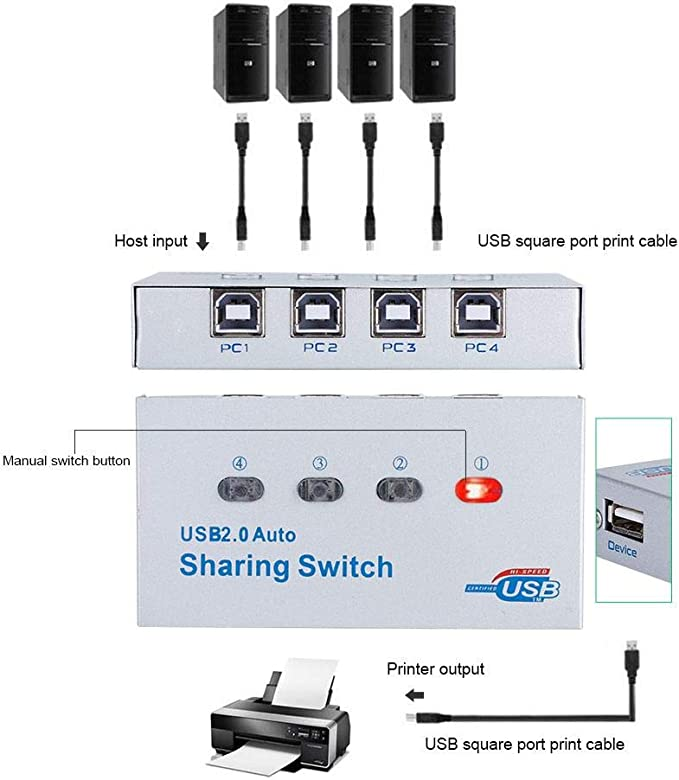 Kafuty PC Computadora USB 2.0 Auto/Manual Switch Switch Hub ...