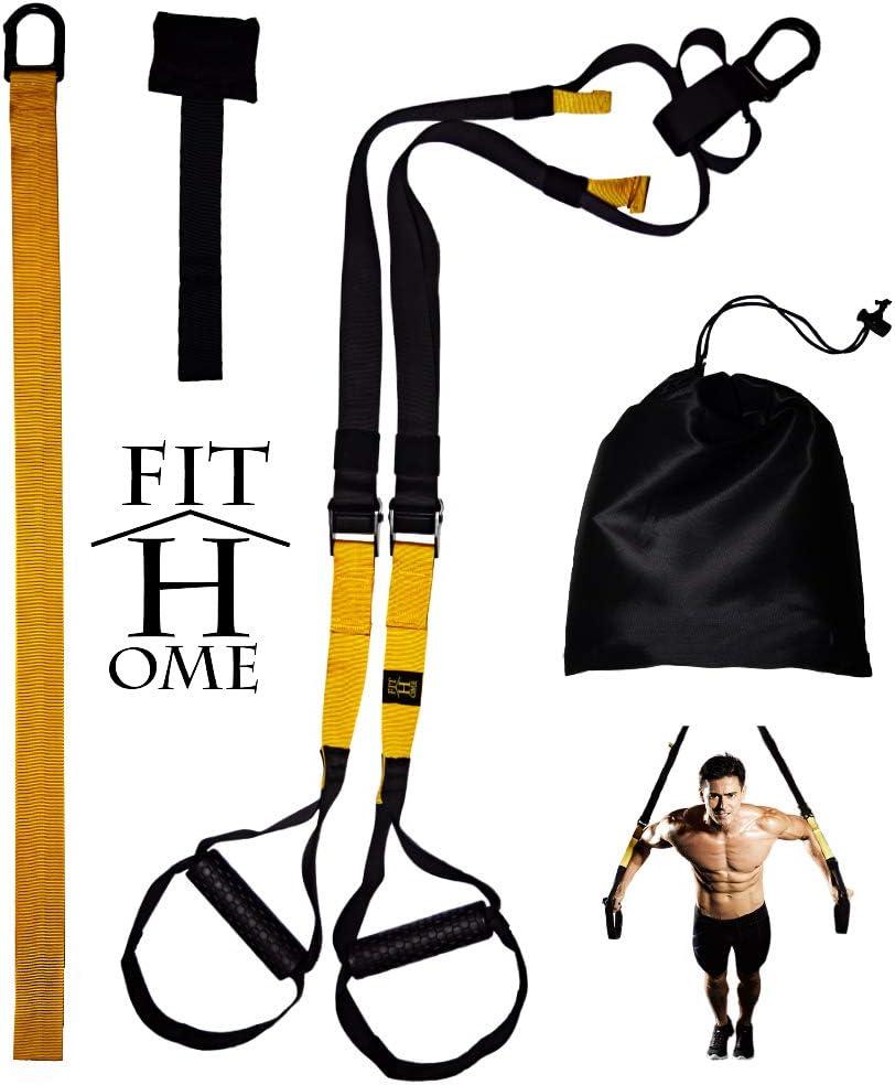 FIT HOME - Kit de Entrenamiento en suspensión – Suspension Training (3 en 1 – Negro/Amarillo) también para Fitness/Workout Outdoor – Robusto y Ligero, ...