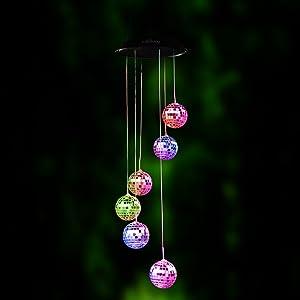 BALANSOHO Color Changing Solar Wind Spinner, Disco Ball Shape Solar Wind Chime Night Light Waterproof for Home Garden Christmas Lighting Decor