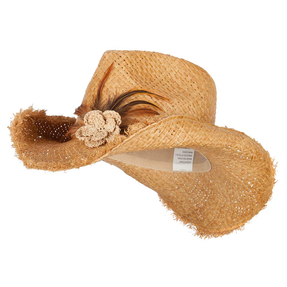Jeanne Simmons Women's Feather and Flower Accent Raffia Cowboy Hat - Natural OSFM