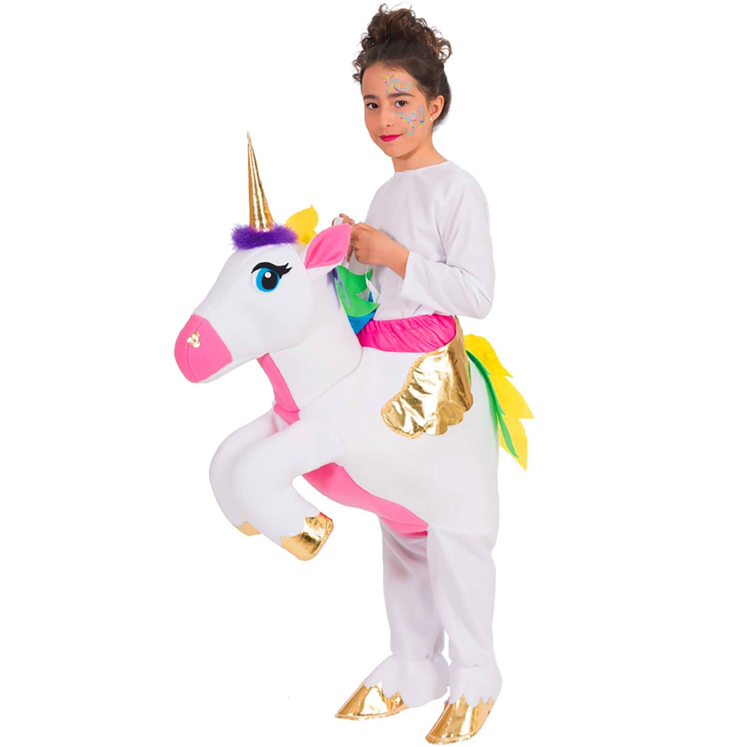 Nines d'Onil Kids Costume Carryingriding Unicorn Butterfly Unicorn Transfiguration Fun Costume Carnival