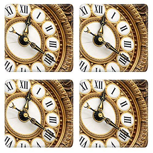 MSD Square Coasters Non-Slip Natural Rubber Desk Coasters design: 4450946 Antique French railway clock in the Musee d Orsay in Paris (Msd Square Clock)