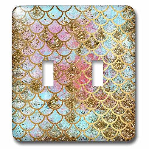 3dRose (lsp_266933_2) Double Toggle Switch (2) Sparkling Pink Luxury Elegant Mermaid Scales Glitter Effect Art Print by 3dRose