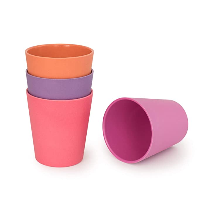 BOBO&BOO Adult-Sized (16oz) Eco Friendly Bamboo Cups for Adults & Kids | 4 Set | Durable Bamboo Dinnerware Set for Home, Picnic & Party Time – BPA Free – Dishwasher Safe - FDA Approved - SUNSET