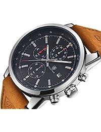 FOVICN Men's Fashion Business Quartz Watch with Brown...