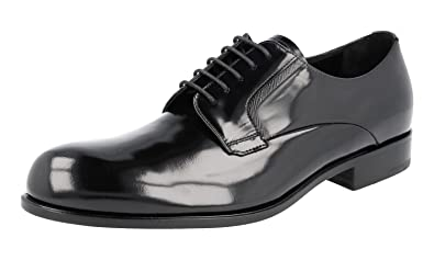 f2753a4464bd Prada Men's 2EE207 X6O F0002 Black Brushed Spazzolato Leather Business  Shoes EU 6 (40)