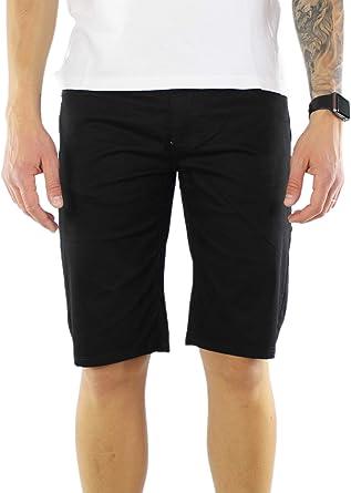 Bermuda hombre algodón elegante azul gris negro pantalones cortos slim fit shorts casual: Amazon.es: Ropa y accesorios