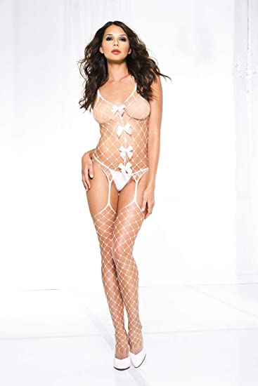 faeb8a962 Amazon.com  Music Legs Women s Spandex Diamond Net Suspender Bodystocking  with Satin Bows