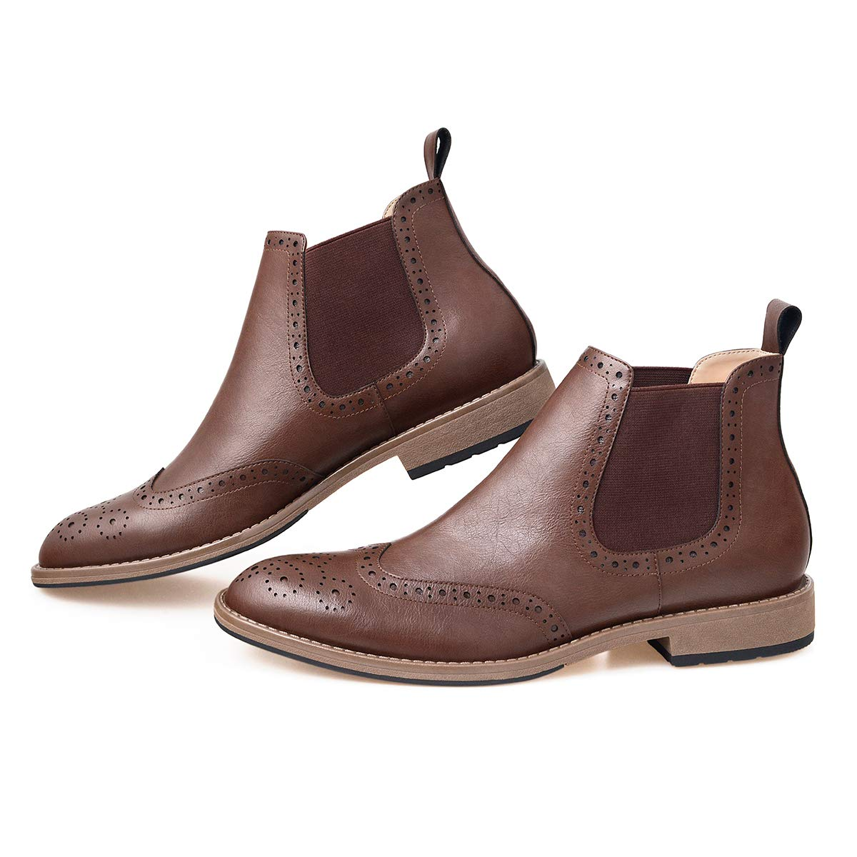 ff7a8c12b71b GM GOLAIMAN Men s Chelsea Boots Wingtip Brogue Full Brogue Boots Ankle Dress  Boots Slip On Brown 7