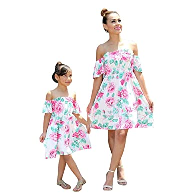 6df88d5177814b Felicy Mother and Daughter Matching Dress, Women Baby Girls Summer Off  Shoulder Floral Print Sundress