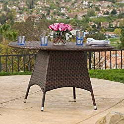 Kanza Outdoor Brown Wicker Round Dining Table