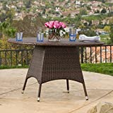 Kanza Outdoor Brown Wicker Round Dining Table For Sale