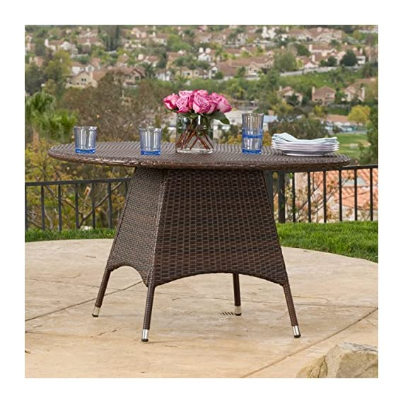 Christopher Knight Home Kanza Outdoor Brown Wicker Round Dining Table - For the perfect stylish outdoor Dining Table, look no further than the Christopher Knight Home corsica Dining Table Manufactured in China Assembly required but completely worth it - patio-tables, patio-furniture, patio - 610pYbYVINL. SS570  -