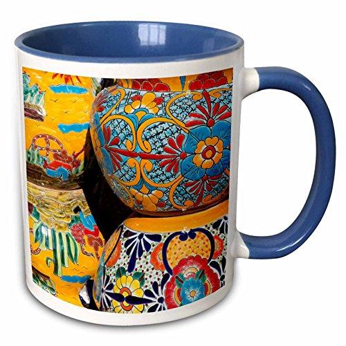 nt - Pottery - Arizona, Tucson, Tubac. Traditional hand-painted Mexican pottery. - 15oz Two-Tone Blue Mug (mug_210077_11) ()
