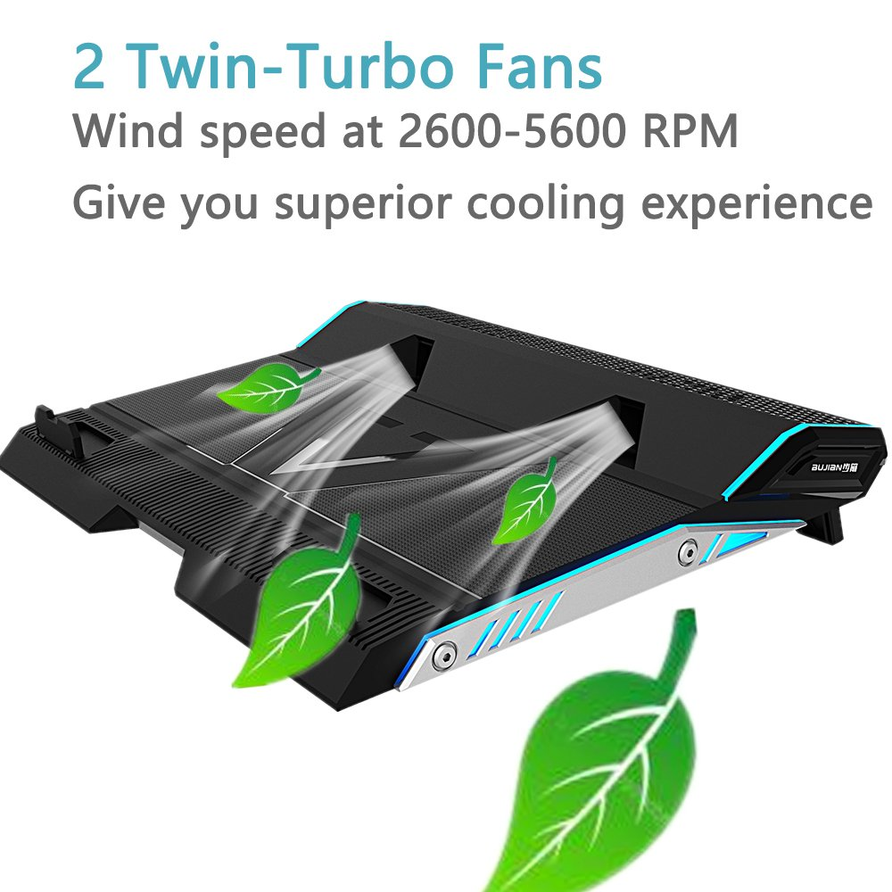 BUJIAN Laptop Cooler Cooling Pad for 15.6-17 Inch Laptops with 2 Fans twin-turbo Speed at 3,000-3,500 RPMS,Slim Portable by BUJIAN (Image #2)