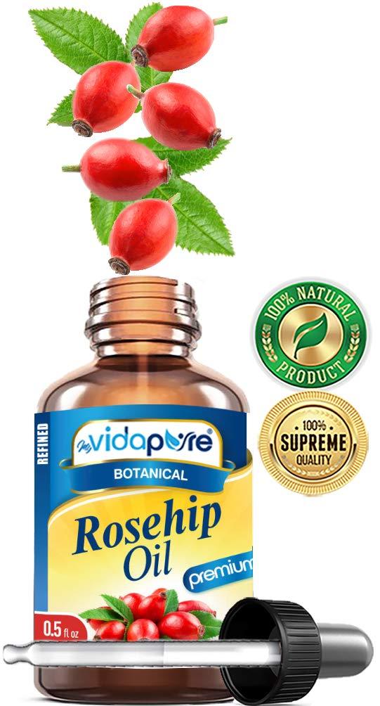 ACEITE DE ROSA con alto contenido de Vitaminas A, C, E. Para ARRUGAS, CICATRICES, ESTIRAMIENTOS, Cara, Cuerpo, Cabello, Cuidado de Labios, 0.5 Fl.oz.