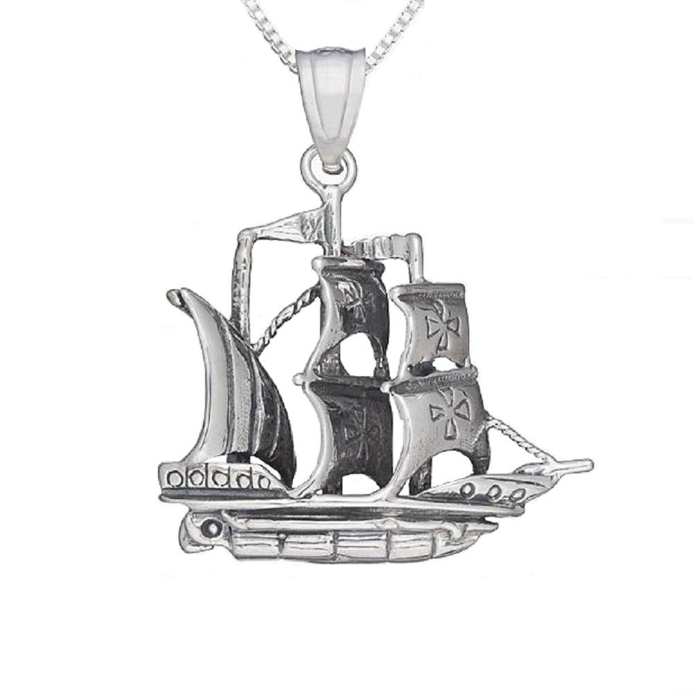 Sterling Silver PIRATE SAILBOAT 3D Solid Pendant Made in USA 18 Italian Box Chain
