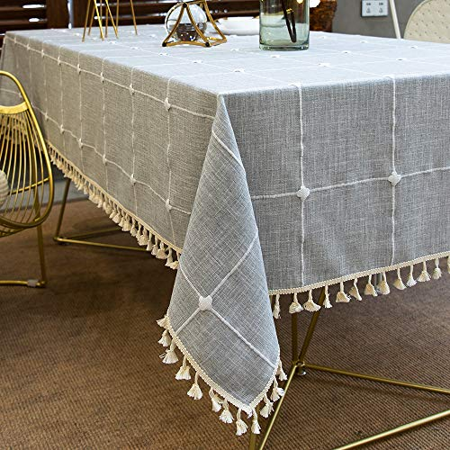 TEWENE Tablecloth, Rectangle Table Cloth Cotton Linen Wrinkle Free Anti-Fading Checkered Tablecloths Washable Table Cover for Kitchen Dining Party (Rectangle/Oblong, 55''x86'',6-8 Seats, Grey)