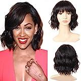 PANEWAY Body Wave Human Hair Wigs With Bangs Short Wavy Bob Wig Human Hair Wigs For Black Women Brazilian Virgin Human…