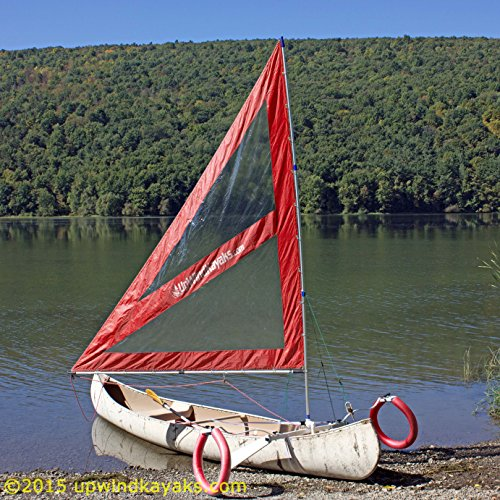 Serenity Upwind Kayak Sail and Canoe Sail Kit (Red). Complete with Telescoping Mast, Boom, Outriggers, Lee Boards, All Rigging Included! Compact, Portable, Easy to Set up - Makes a great gift ! by Sailskating (Image #1)
