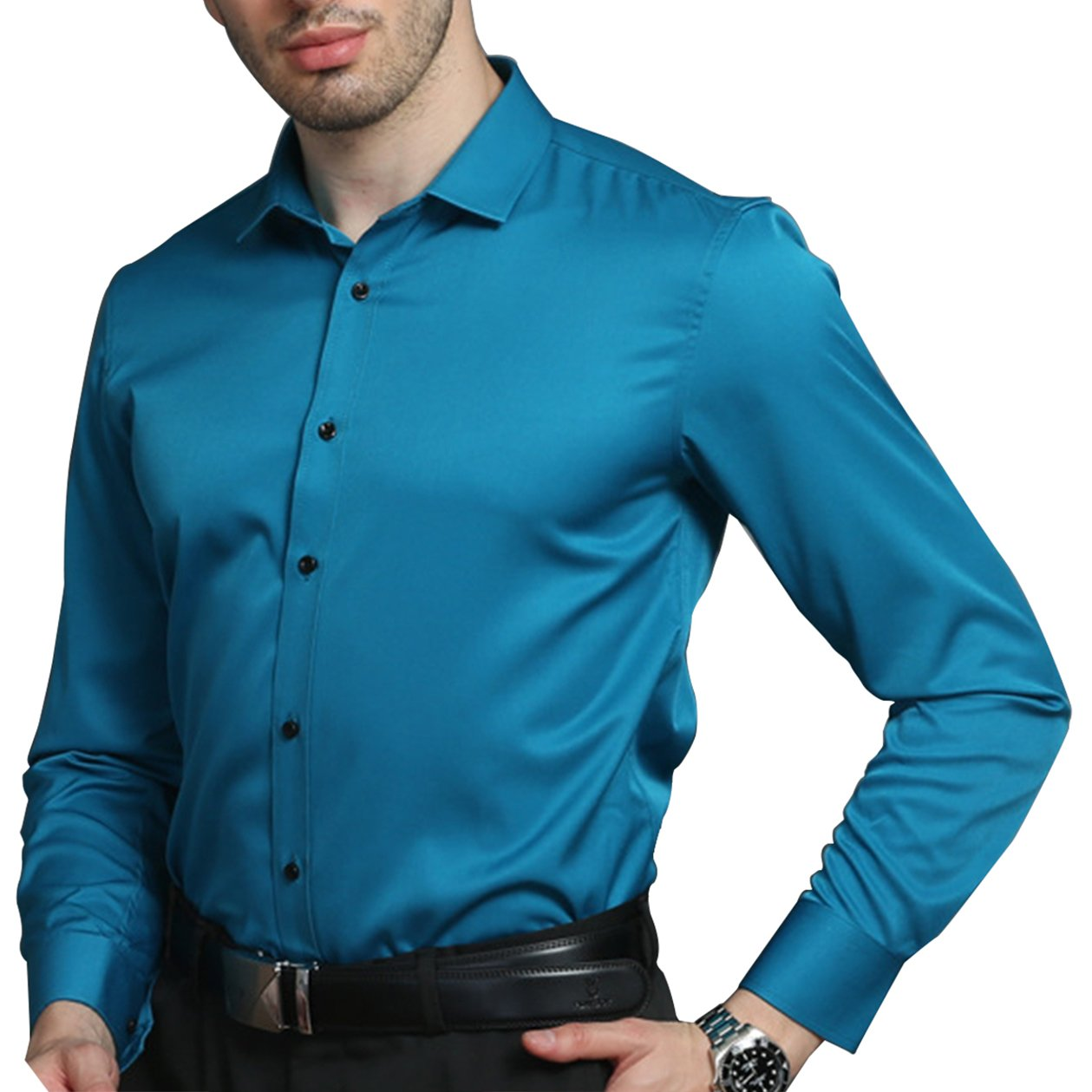 LiberalApp Men's Bamboo Fiber Solid Color Blue Long Sleeve Slim Casual Business Combination Button Shirt,15'' Neck 32'' Sleeve/XXS