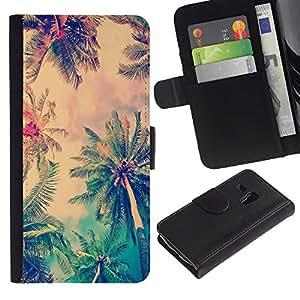 Billetera de Cuero Caso Titular de la tarjeta Carcasa Funda para Samsung Galaxy S3 MINI NOT REGULAR! I8190 I8190N / Jamaica Palm Tree Coconut Summer / STRONG