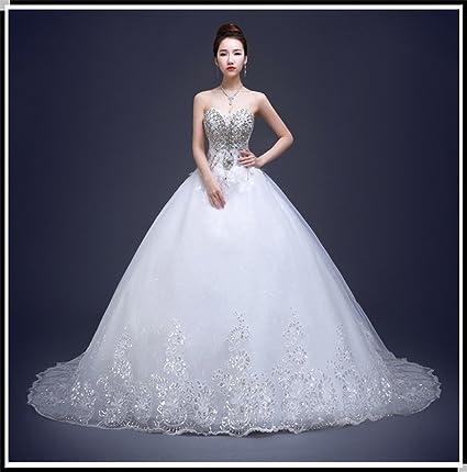 DIDIDD Vestido de Novia Modelos de Invierno Diamante Sastre Qi Qi Pecho Boda Boda Nupcial Era