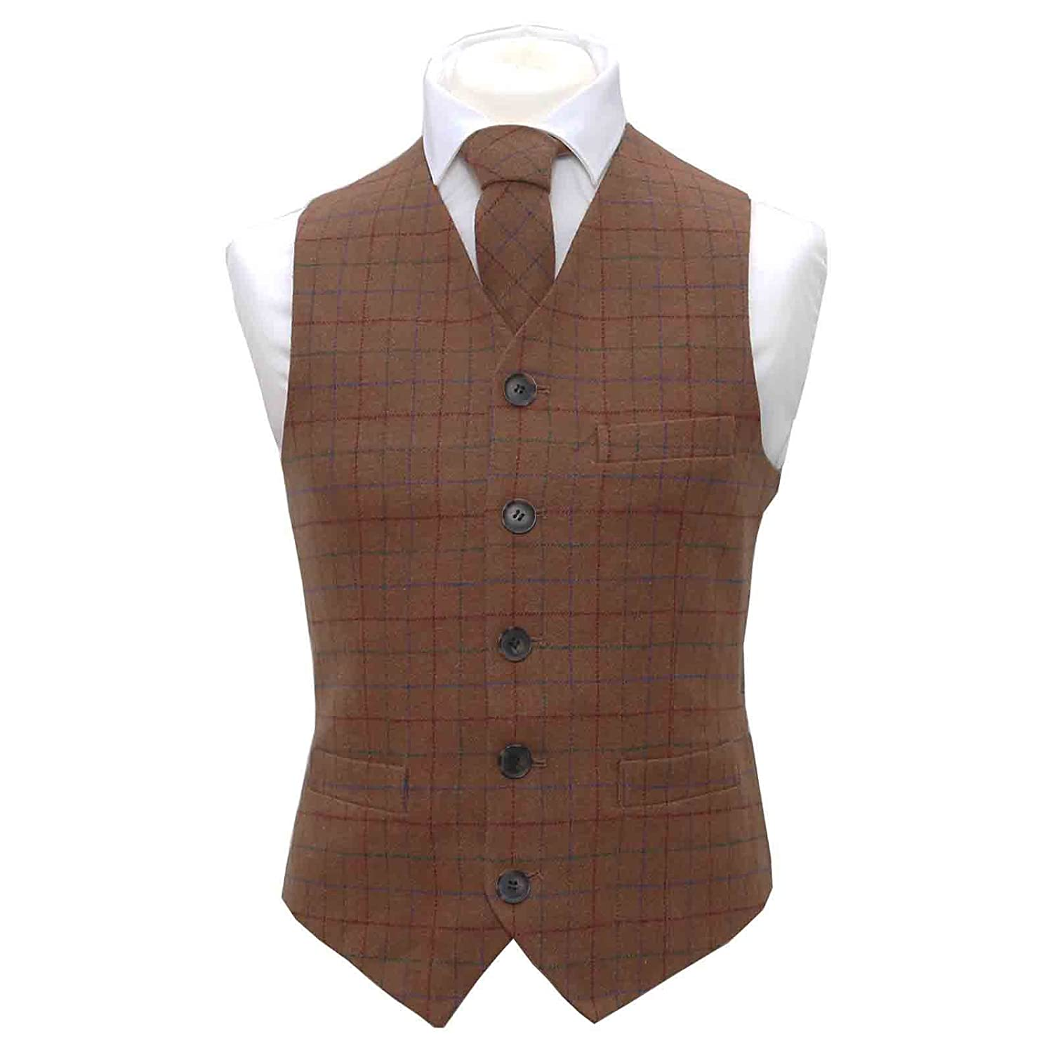 ec250398e9dc Heritage Check Rustic Brown Waistcoat & Matching Bow Tie, Tie & Pocket  Square: Amazon.co.uk: Clothing