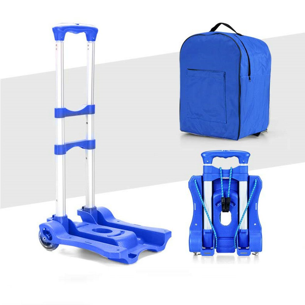 Portable Folding Trolley Lightweight Aluminum Folding Up Travel, Cars, Luggage, Shopping (blue)