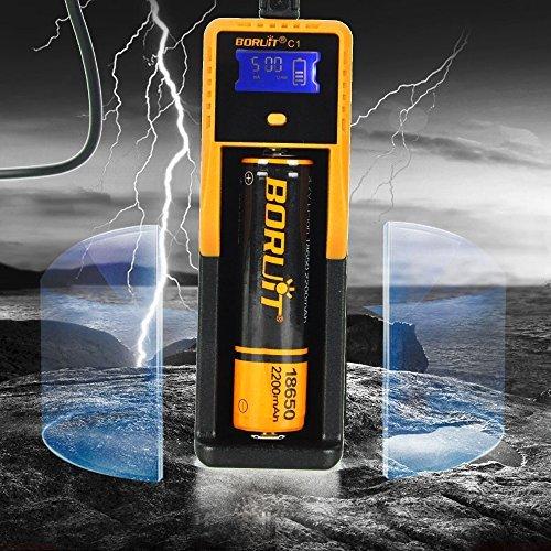 BORUIT 18650 Rechargeable USB Smart Battery Charger Automatic LCD Display for Li-ion Ni-MH Ni-Cd AA AAA C 26650 18650 18490 17335 16340 10440