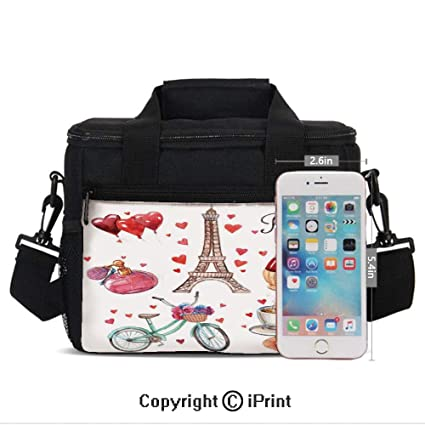 754385d04 Insulated Lunch Box Paris Illustration of Hearts Eiffel Tower Red Wine  Coffee Perfume Romance Themed Art
