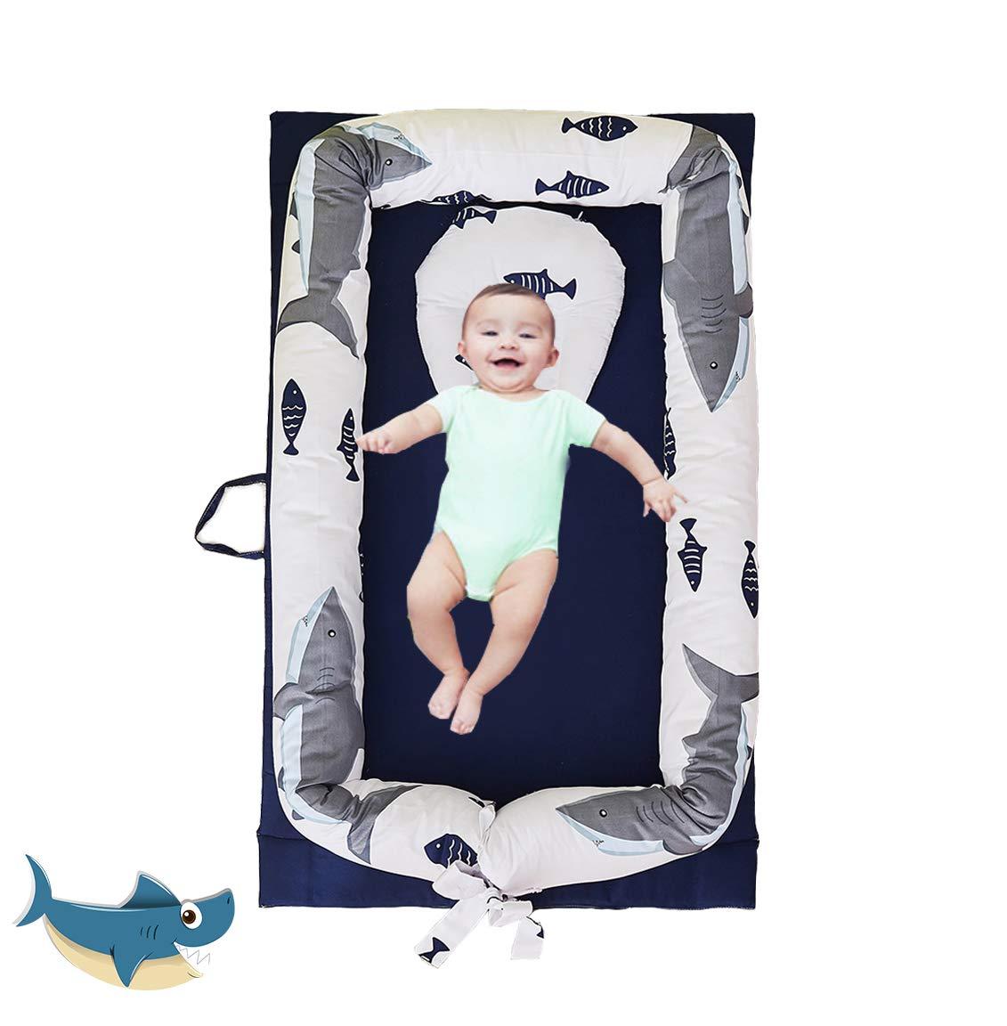 Brandream Baby Bassinet for Bed Navy,Blue Shark Newborn Baby Lounger, Infant Sleeping Nest/Pods Breathable 100% Cotton Multifunctional Baby Nest, Portable Crib for Bedroom/Travel (0-24 Months)