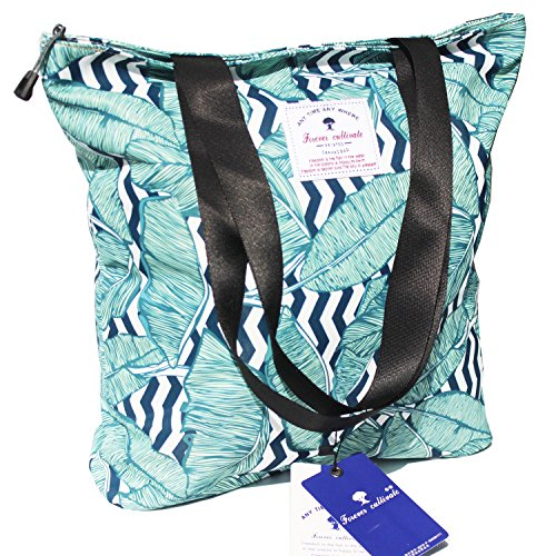 Floral Beach Bag (Waterproof Tote Bag,Original Floral Leaf Lightweight Fashion Shoulder Bag Lunch Bag for Shopping Yoga Gym Hiking Swimming Travel Beach)