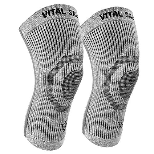 (Vital Salveo-Compression Recovery Knee Sleeves/Braces S-Support, Ideal for Sports and Daily Wear, Pain Relief, Protects Joint-XX-Large(1 Pair))