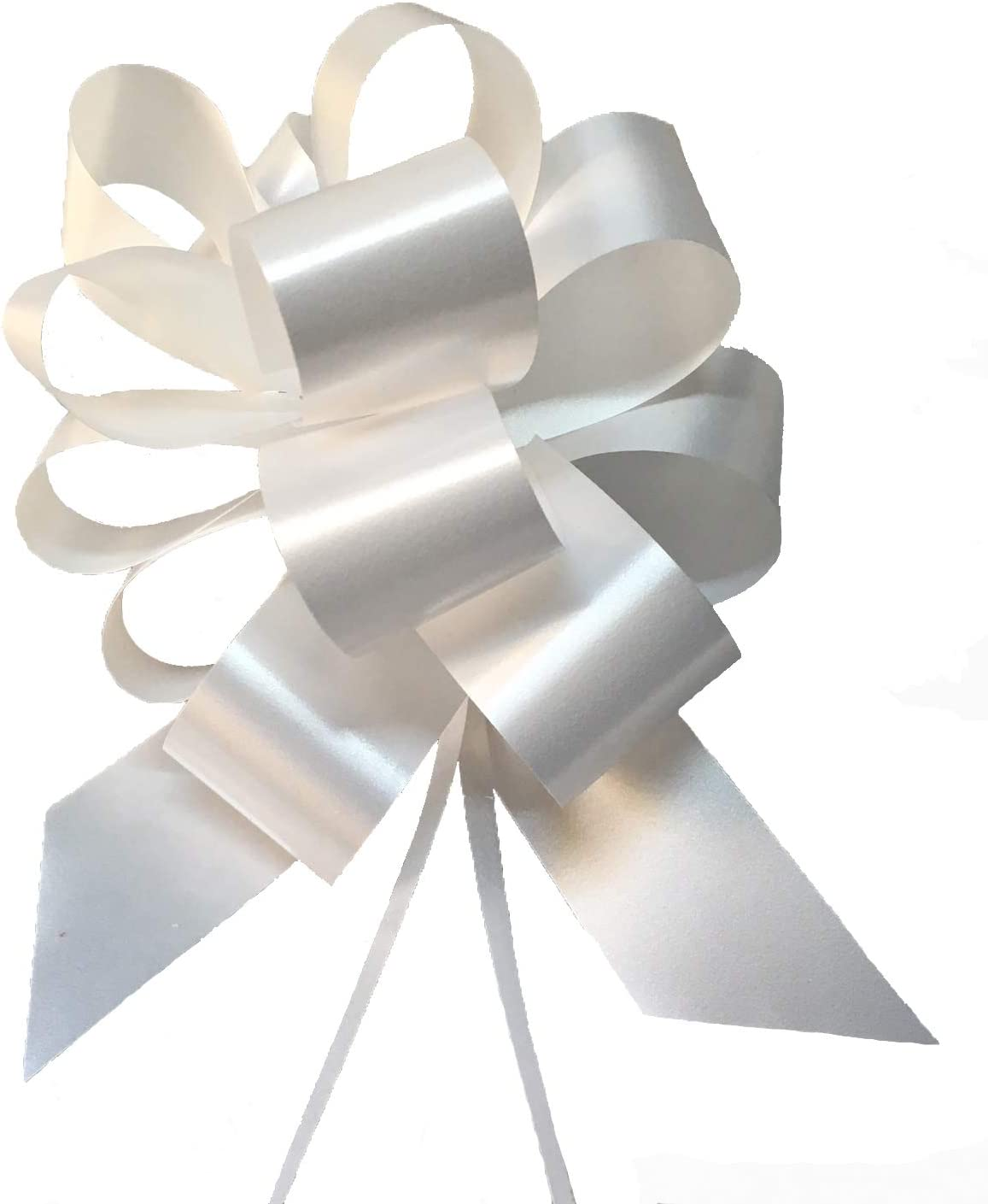 Party Store Srl - Paquete de 50 Maxi Lazos automáticos - Color blanco - Tamaño 5 cm - Ideal para bodas, como decoración del coche nupcial: Amazon.es: Bricolaje y herramientas
