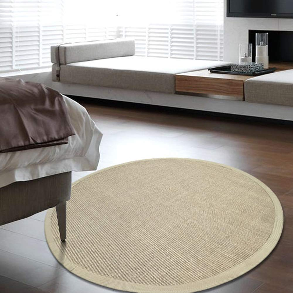 Clothes UK- Postmodern Licht Luxus Wohnzimmer Couchtisch Runde Teppich Retro Design Weaving Sisal Slip Teppich geben Rutschfeste Matte Teppich (Farbe   F, größe   150cm)