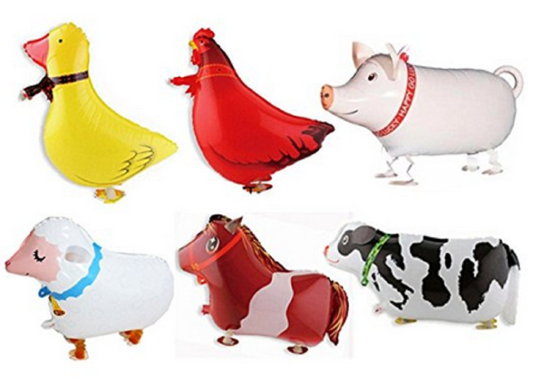 Wendingstan Pack of 6 Walking Animal Balloons Farm Animal Balloon Birthday Party BBQ Party Décor(Pony,Duck,Rooster,Cow,Pig,Sheep)