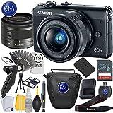 Canon EOS M100 Mirrorless Digital Camera with 15-45mm Lens (Black) + 32GB Memory Card + Basic Photo Accessory Bundle