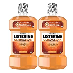 Ultraclean Oral Care Antiseptic Mouthwash with Everfresh Technology to Help Fight Bad Breath, Gingivitis, Plaque and Tartar, Fresh Citrus, 1 l (2 Pack)