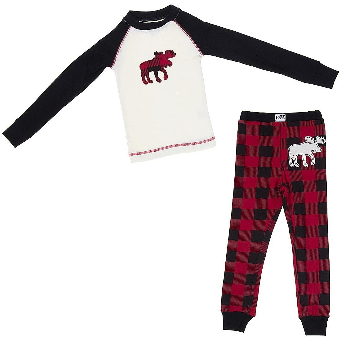 Lazy One Plaid Moose Cotton Pajamas for Little Boys' KID1404T