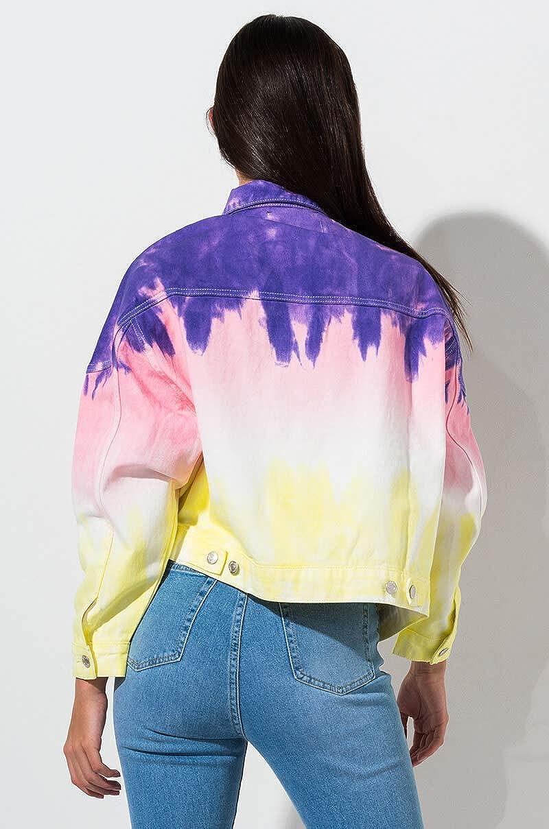 AKIRA Womens Pastel Dip Dye Tie Dye Denim Jean Jacket