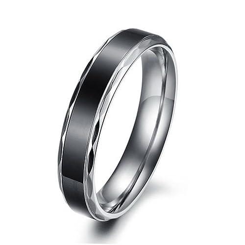 MunkiMix Ancho 4mm 6mm Acero Inoxidable Anillo Ring El Tono De Plata Banda Venda Negro Pareja Alianzas Boda Promesa Hombre