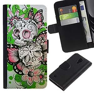 Stuss Case / Funda Carcasa PU de Cuero - Las flores de mariposa de primavera cráneo del motorista - Samsung Galaxy S4 IV I9500
