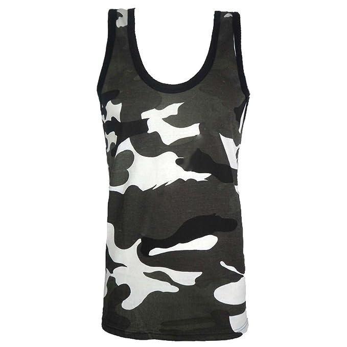 8fa859398ea8c Mens Camouflage Vest Sleeveless Muscle TOP Jungle Combat Military Gym  Shirts Army  Amazon.co.uk  Clothing