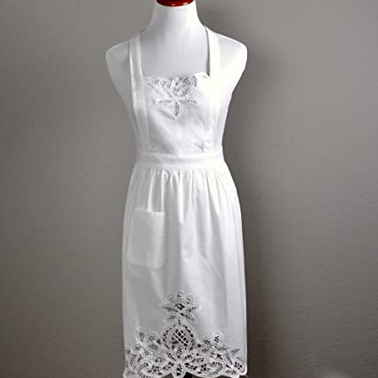 White lace victorian hostess apron with pockets ladies by bumblebee white lace victorian hostess apron with pockets ladies by bumblebee linens junglespirit Image collections