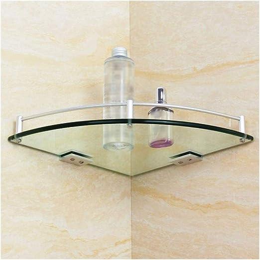 ZhanMa Toallero Rotación de la Esquina del Estante estantes de la Esquina de la Ducha montada en la Pared de Vidrio Templado de baño del Estante con la Base Ajustable for Ajustar