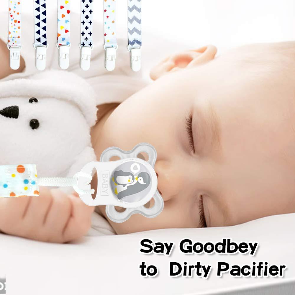 Ciuccio Clip Baby Catenella Portaciuccio 6 pc e Morbidi Anelli Adattatore Clip in Silicone 12 pc Jadelotus Ciuccio Catena Clips in Plastica Infantile